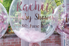 Feather filled, personalised bubble balloons